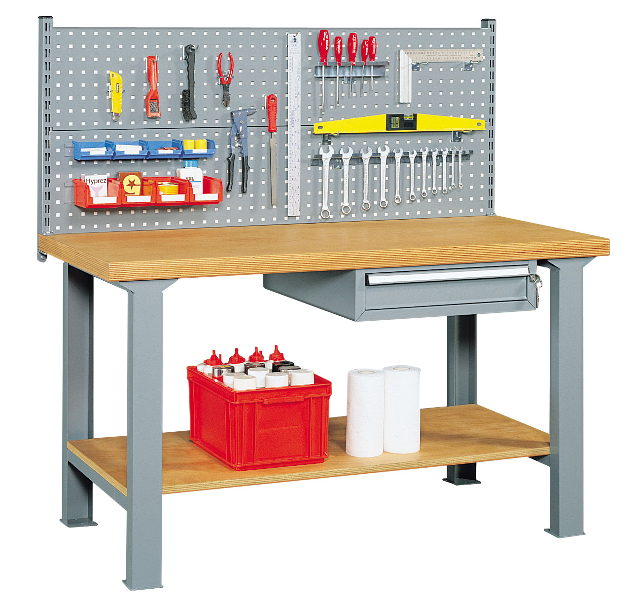 Etabli mécanicien avec panneau perforé et tiroir L.200