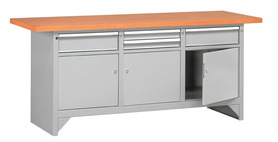Etabli métal plateau bois avec rangement 2 mètres