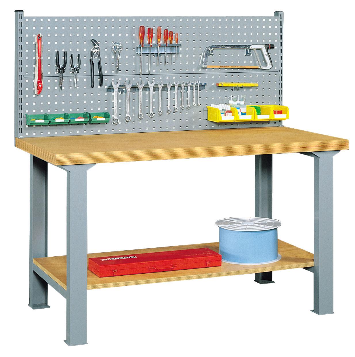 Etabli panneau perforé porte-outils et étagère L150