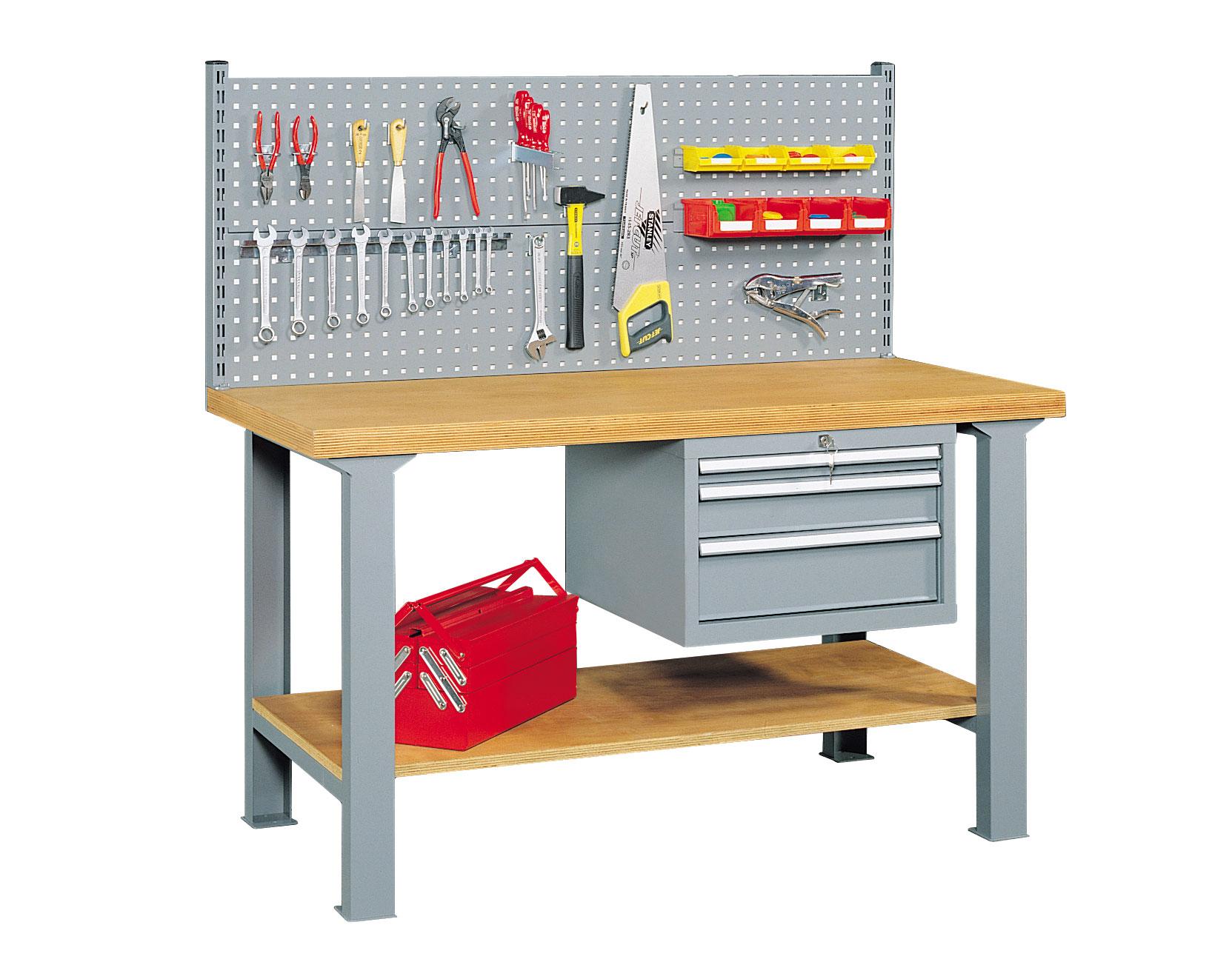 Etabli panneau porte outils et 3 tiroirs L.200 cm