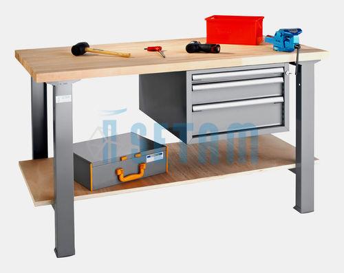 Etabli d 39 atelier alpa 40 avec 3 tiroirs et plateau bois for Etagere bureau professionnel