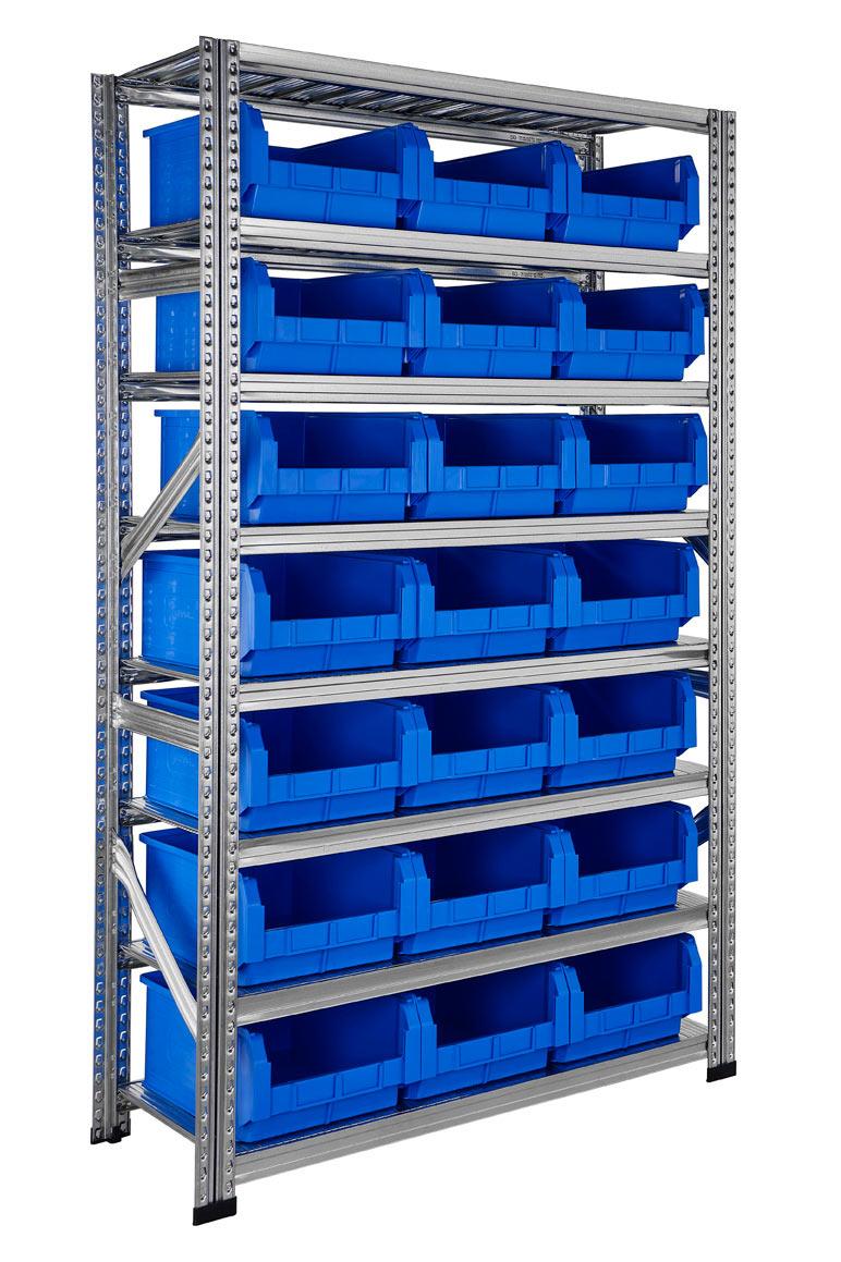 Etagère avec bacs pour stockage 21 bacs plastique 28 litres