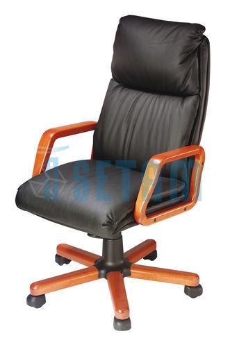 Fauteuil de direction fauteuil Mambo cuir et bois merisier