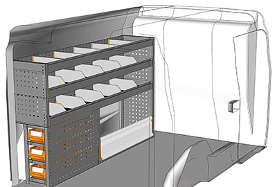 Kit aménagement Doblo L2 métallique côté conducteur