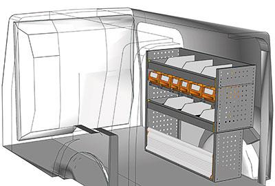 Kit aménagement Kangoo L2 métallique côté Droit