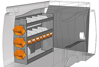 Kit aménagement Partner L2 métallique côté Gauche