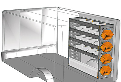 Kit aménagement Trafic L2 métallique côté Droit
