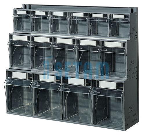 bloc tiroir mural plastique praticbox 15 tiroirs avec cadre. Black Bedroom Furniture Sets. Home Design Ideas