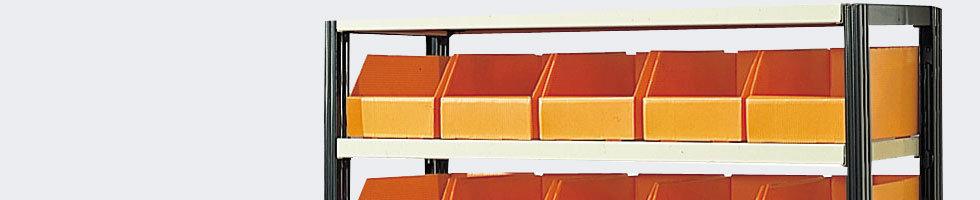 etag re avec bacs rangement kit rayonnage peint pour bac plastique akylux. Black Bedroom Furniture Sets. Home Design Ideas
