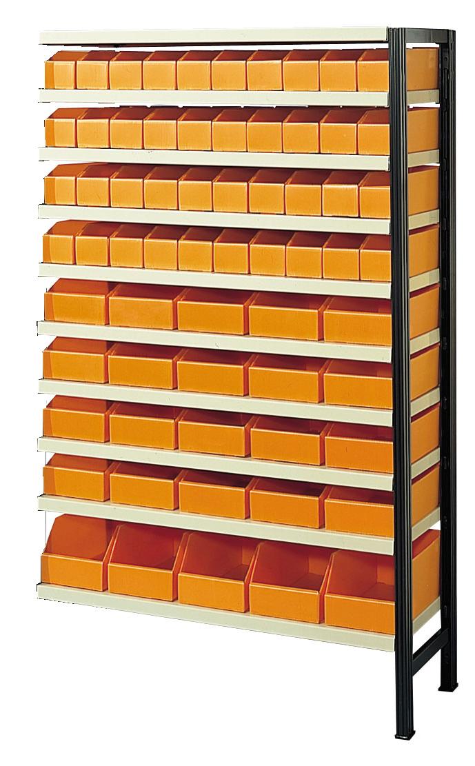 Kit suivant étagère avec 65 bacs de rangement alvéolaires