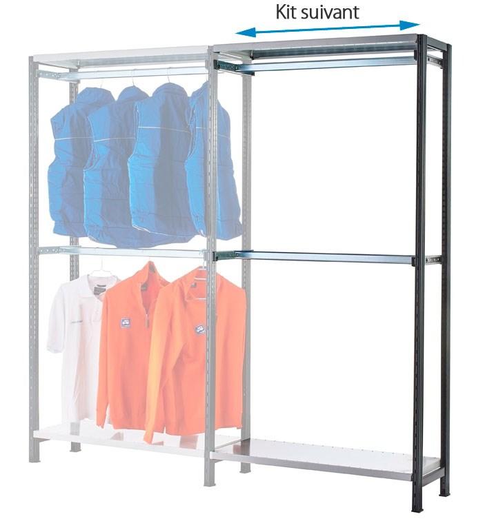 Kit suivant rayonnage portes-cintres L.117 cm