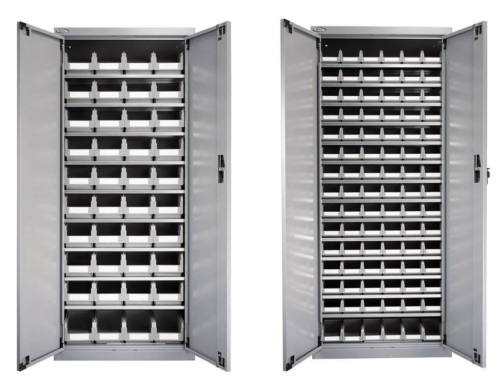Pack 2 armoires avec portes et 136 bacs plastiques