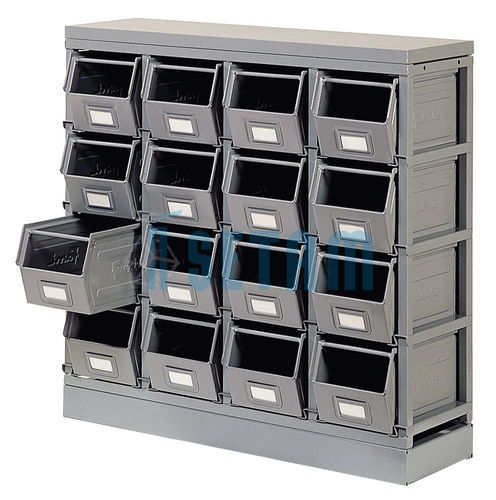 rack de rangement 16 postes avec bacs m talliques vernis 12 5 litres setam. Black Bedroom Furniture Sets. Home Design Ideas