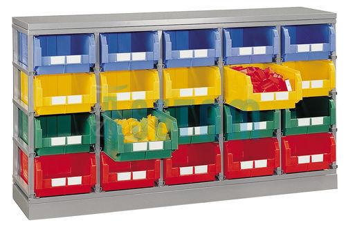 rack de rangement 20 postes avec bacs plastique 28 litres setam. Black Bedroom Furniture Sets. Home Design Ideas