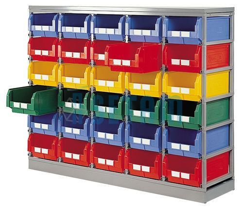 rack de rangement 30 postes avec bacs plastique 28 litres. Black Bedroom Furniture Sets. Home Design Ideas
