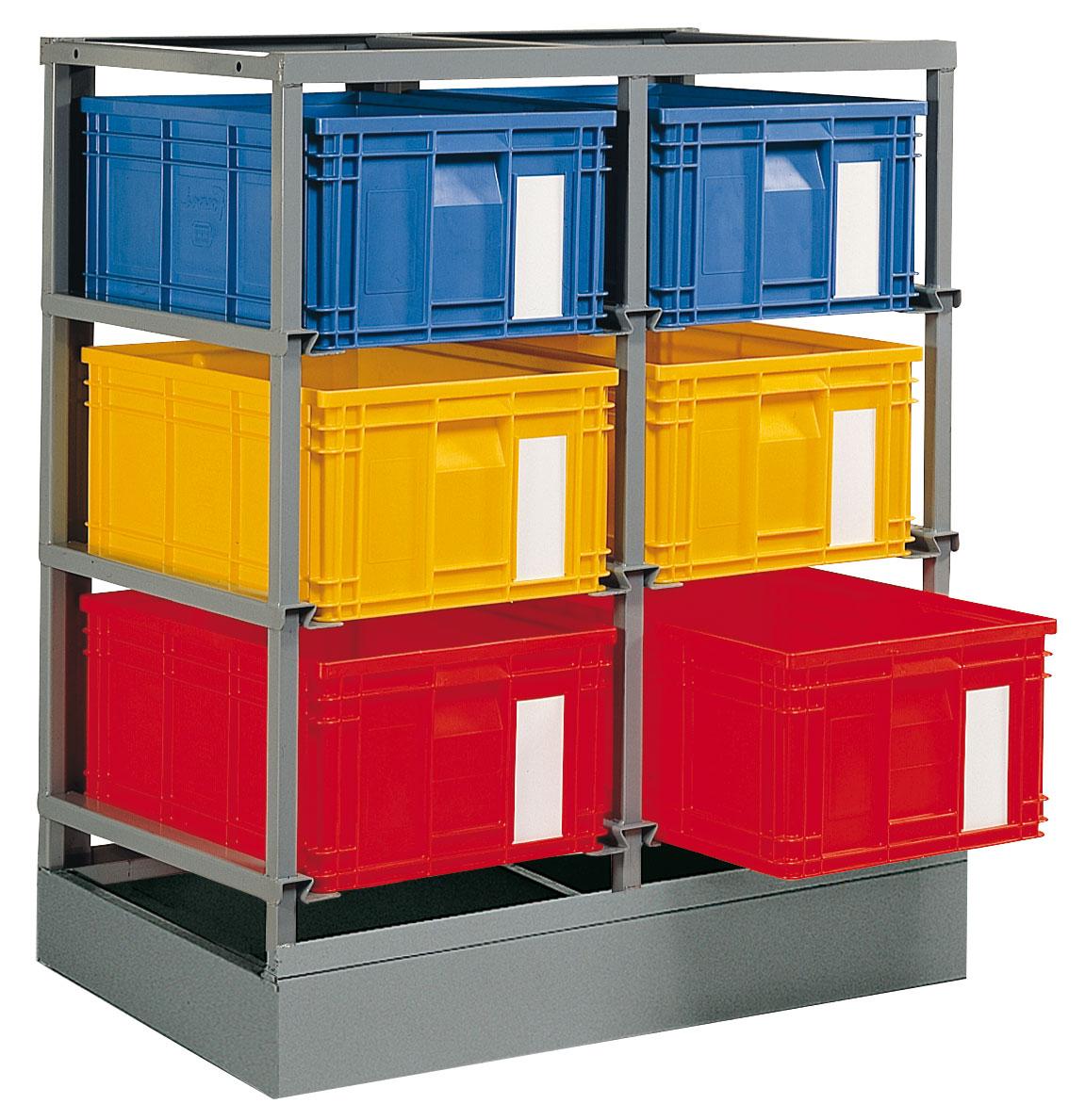 Rack de rangement 6 postes avec caisses plastique 85 litres