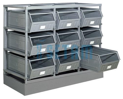 rack de rangement 9 postes avec bacs m talliques vernis 88 litres setam. Black Bedroom Furniture Sets. Home Design Ideas