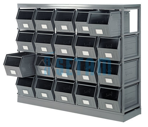 rack de rangement avec 20 bacs m talliques vernis 42 litres setam. Black Bedroom Furniture Sets. Home Design Ideas