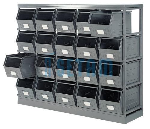 rack de rangement avec 20 bacs m talliques vernis 42 litres setam. Black Bedroom Furniture Sets. Home Design Ideas
