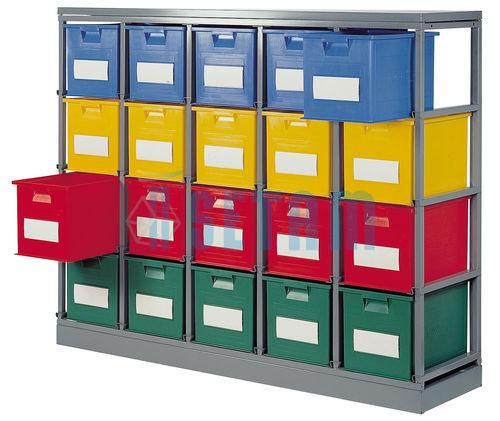 Rack de rangement 20 postes avec caisses plastique 40 5 litres - Caisse plastique rangement ...