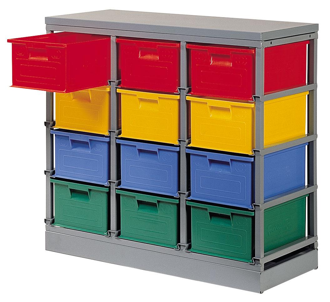 Rack stockage 12 postes avec bacs plastique 27 dm3