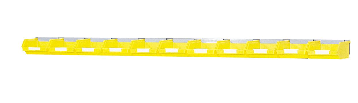 Rail support mural 11 bacs plastiques 0.25 dm3