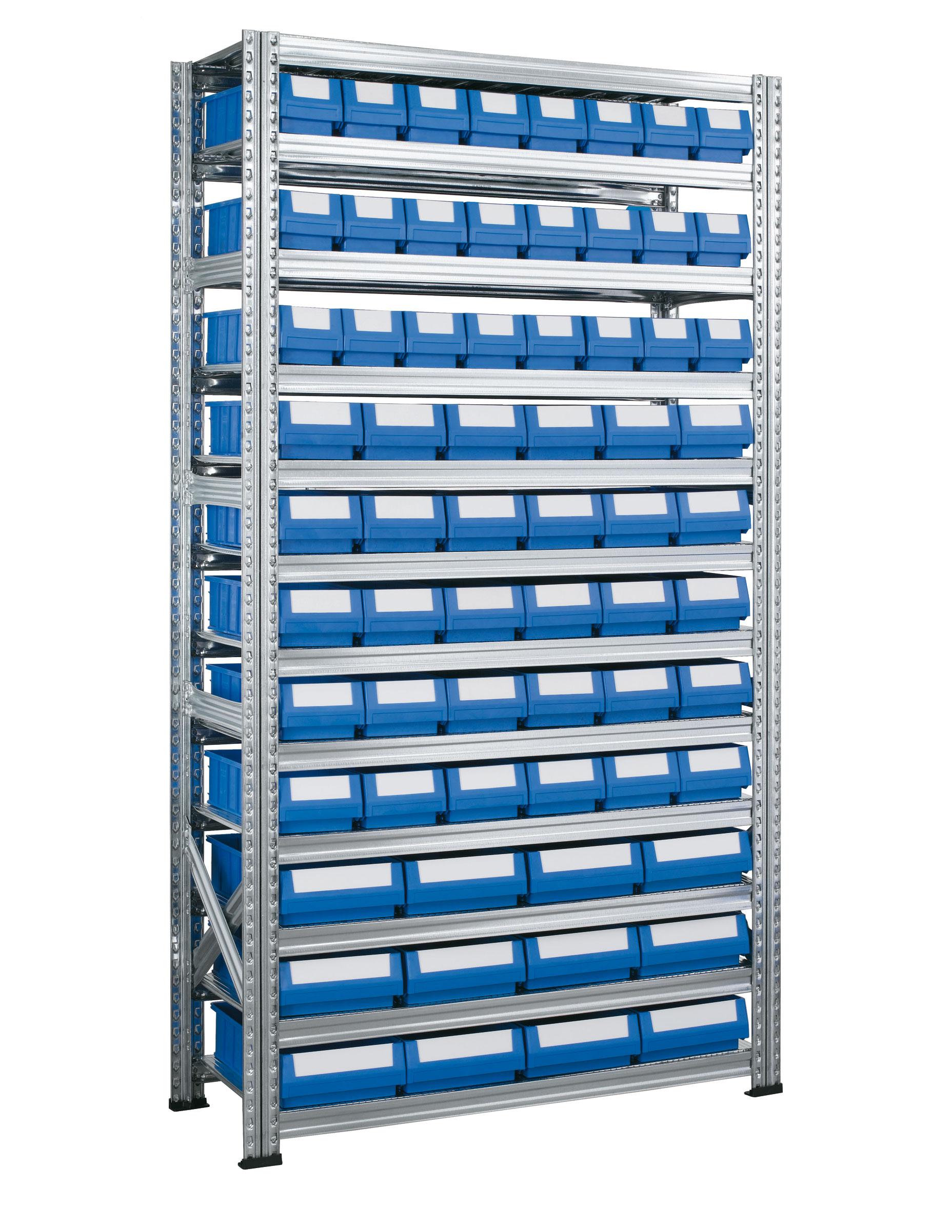Rayonnage à tiroirs plastiques avec 66 bacs tiroirs