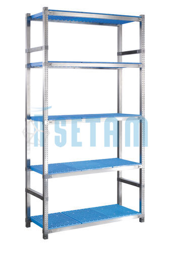 Rayonnage alimentaire Storinox 5 tablettes coloris bleu