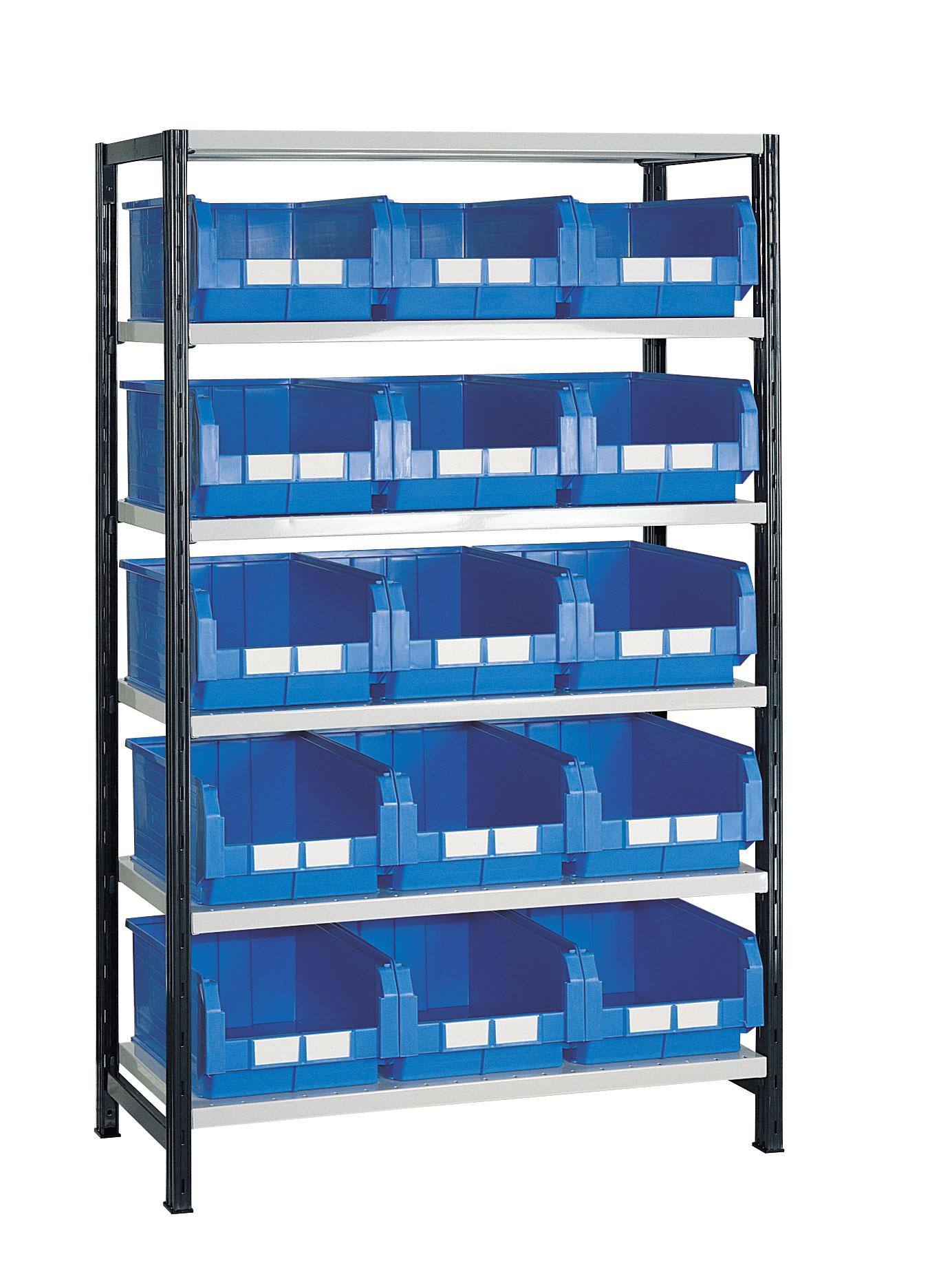 Rayonnage avec 15 bacs plastiques 28 litres bleus