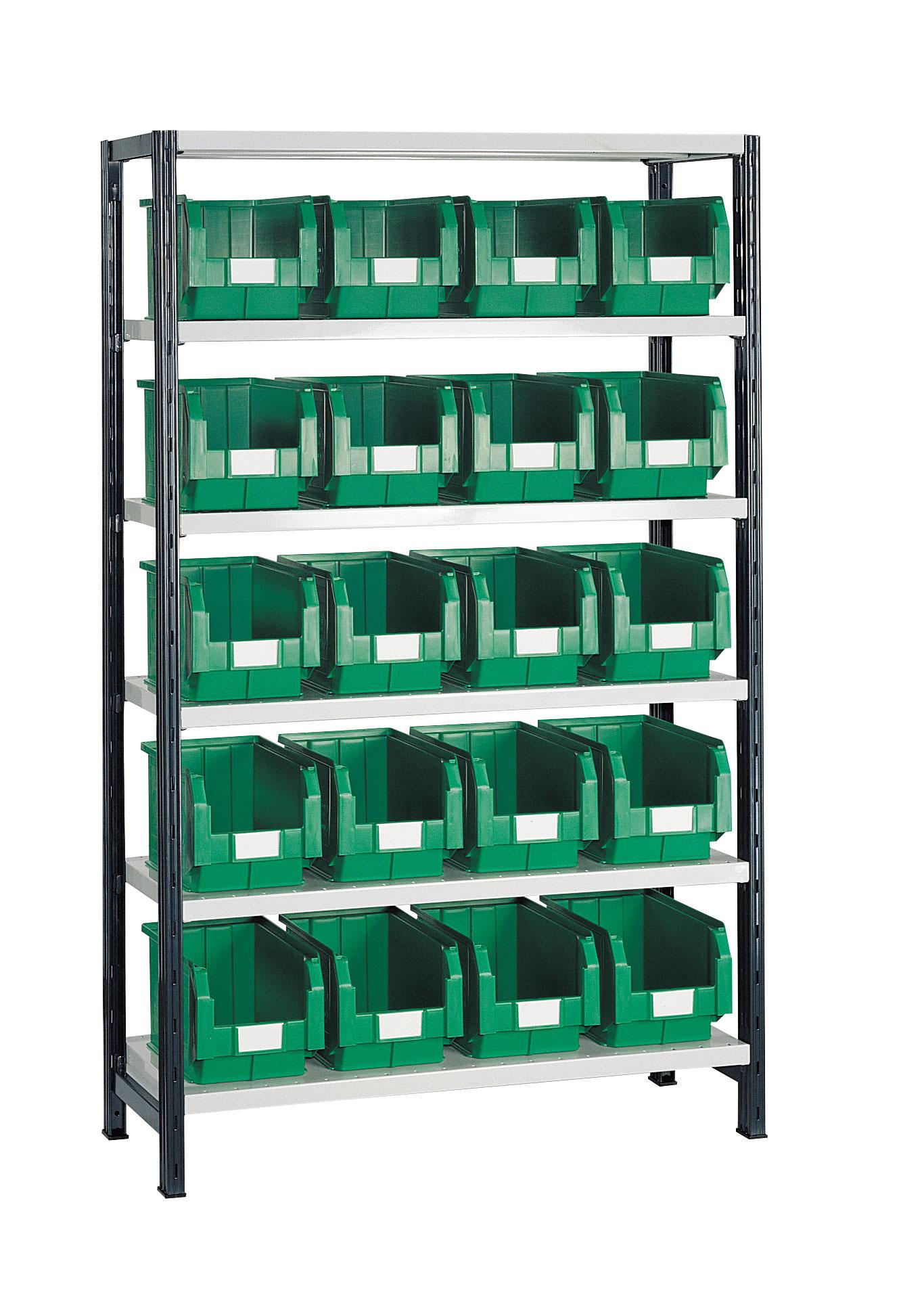 Rayonnage avec 20 bacs plastiques 12.5 litres verts