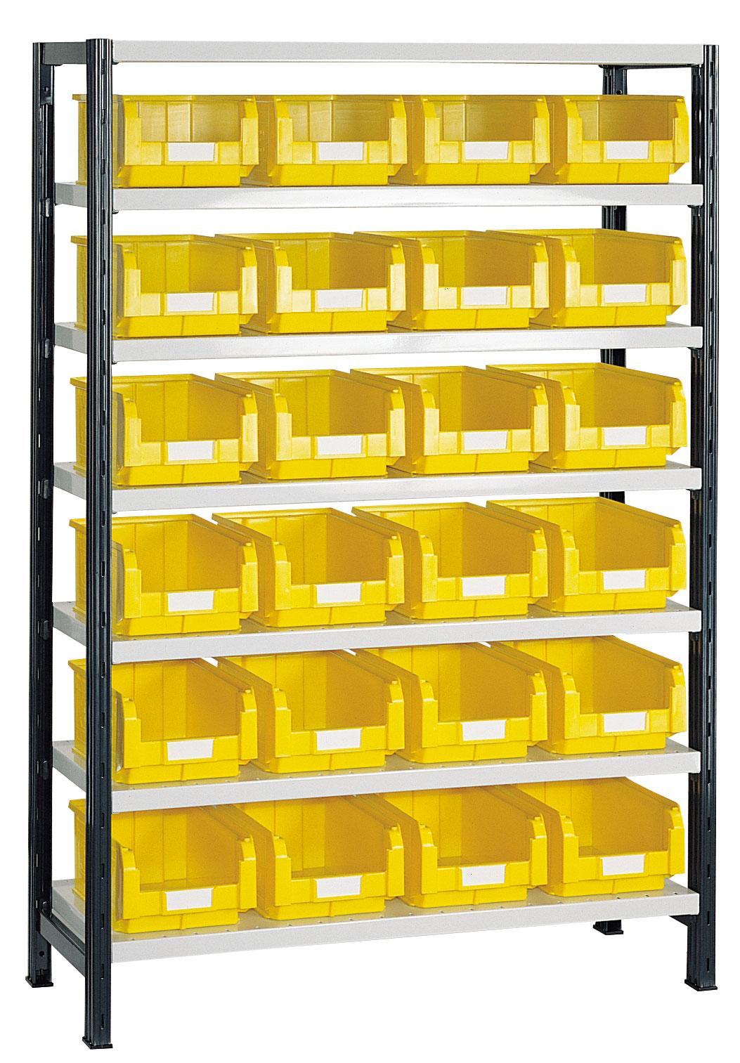 Rayonnage avec 24 bacs plastiques 9.4 litres jaunes
