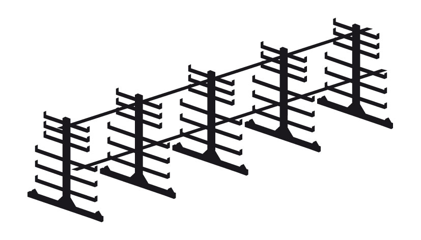 Rayonnage cantilever double face 6 mètres