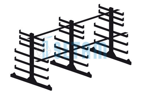 Rayonnage cantilever léger - Kit porte barres horizontal double face L.2900 mm