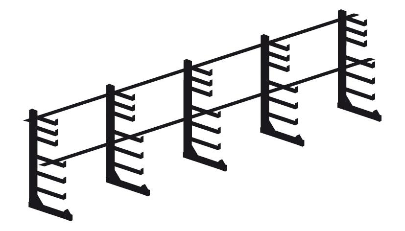 Rayonnage cantilever léger porte-barres 6 mètres