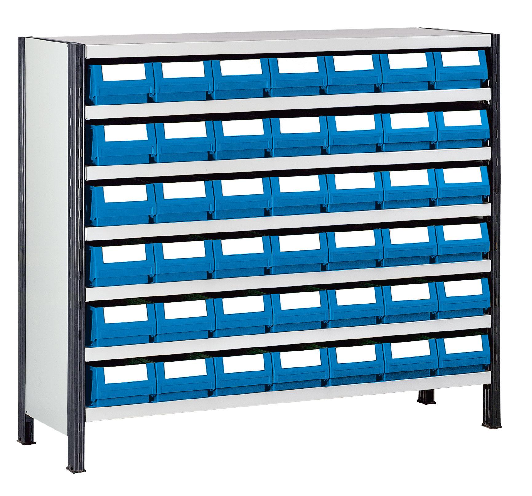 Rayonnage comptoir bas avec 42 bacs tiroirs prof 30 cm