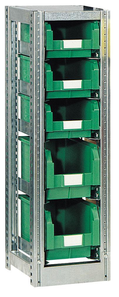 Rayonnage H.1010 mm pour bac rangement L.200 x P.350 mm