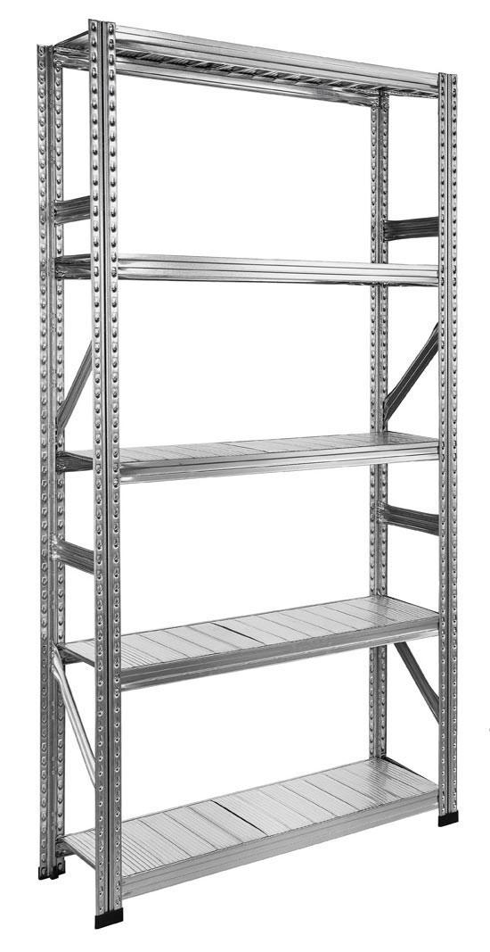 Rayonnage métallique hauteur 3 mètres 5 niveaux 120 cm x p.70 cm