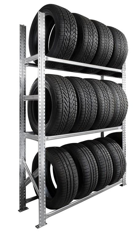 Rayonnage pneus kit départ 3 niveaux P.40 cm