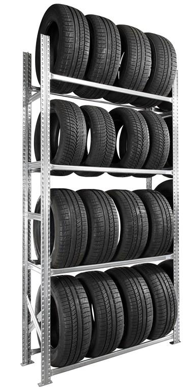 Rayonnage pneus kit départ 4 étagères P40 cm