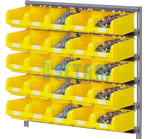 Rayonnage porte bacs mural avec 25 bacs plastique 9 4 - Porte photos mural plastique ...