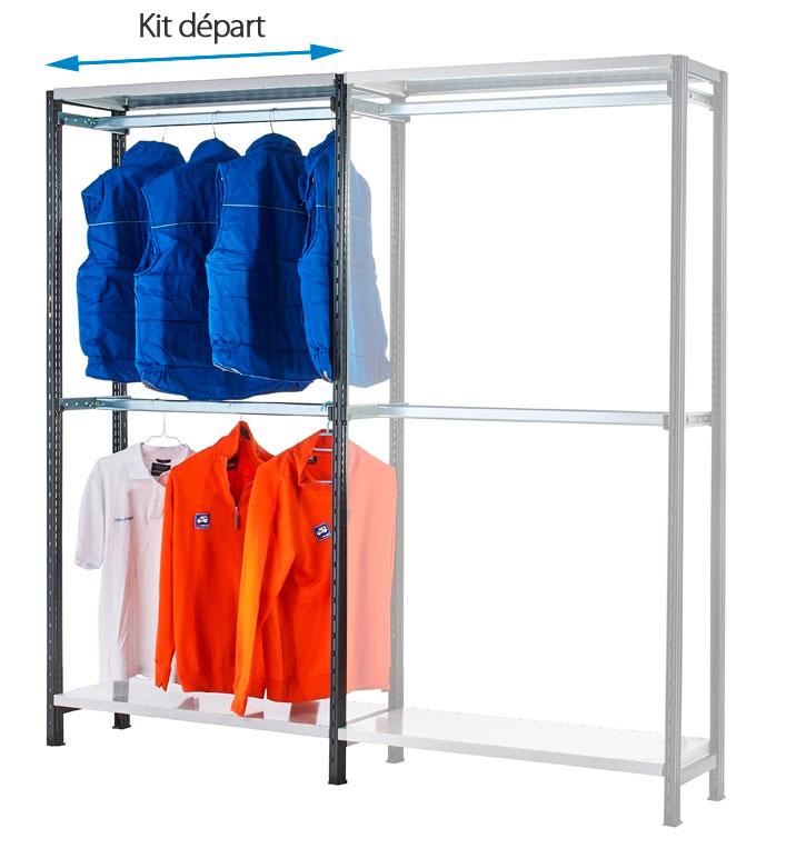 Rayonnage pour vêtements avec 2 portes-cintres L.97 cm