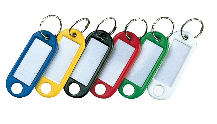 Sachet de 20 porte-clés L.51 x P.21 mm coloris assortis