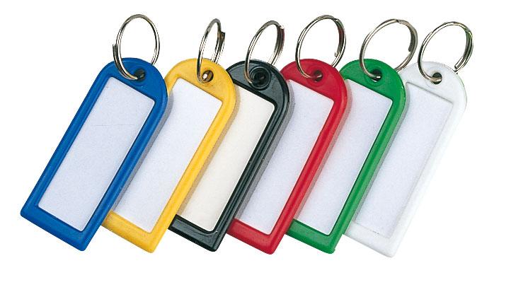 Sachet de 20 porte-clés L.54 x P.22 mm coloris assortis