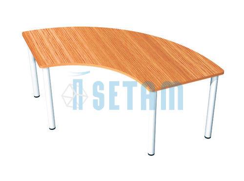 Table forme courbe plateau merisier et piétement aluminium  Setam -> Plateau Merisier