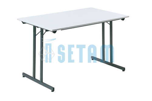 Table pliante L.1200 x P.800 mm gris clair et anthracite