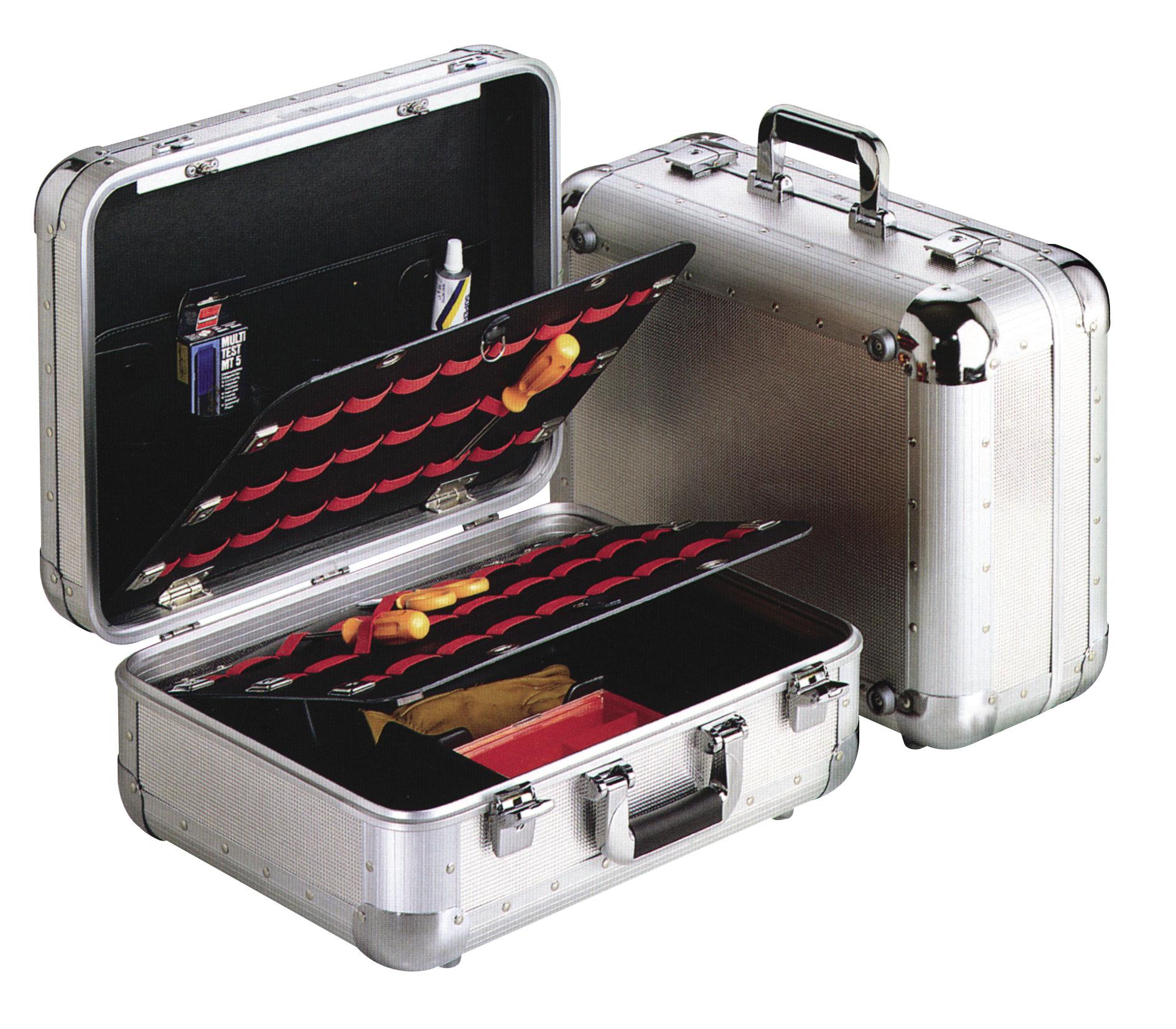 Valise outils en aluminium à coins arrondis et 2 volets